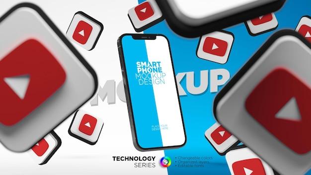 Smartphone-bildschirmmodell mit youtube-symbolen