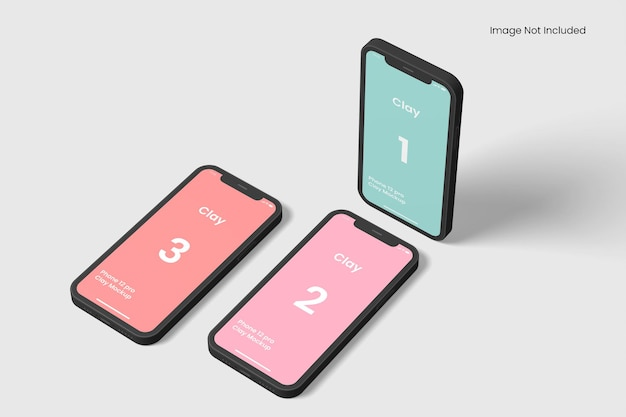 Smartphone clay apps mockups