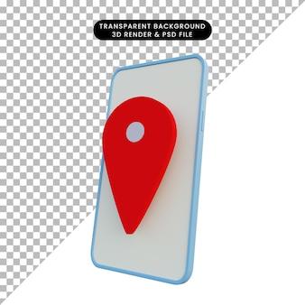 Smartphone der illustration 3d mit standortikone
