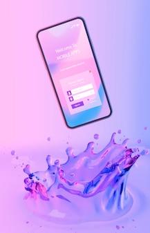 Smartphone mit anmeldungsseite und buntem flüssigem hintergrund