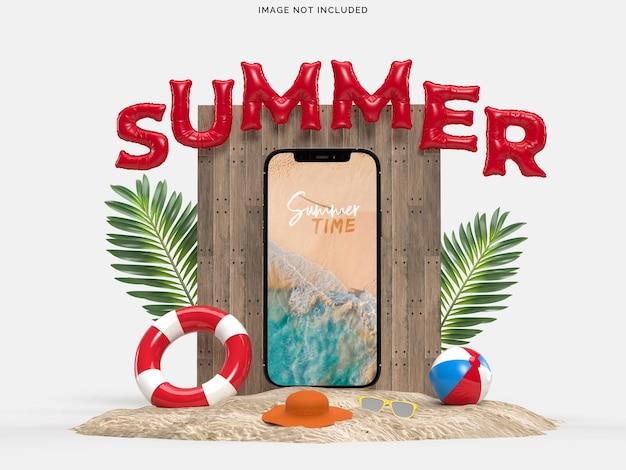 Smartphone mit dekorativen strandobjekten