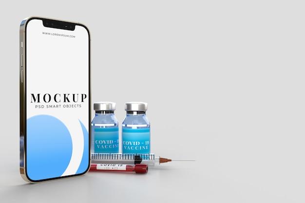 Smartphone mit medizinischen werkzeugen und covid19-impfstoff-banner-modellvorlage für krankenhausklinik