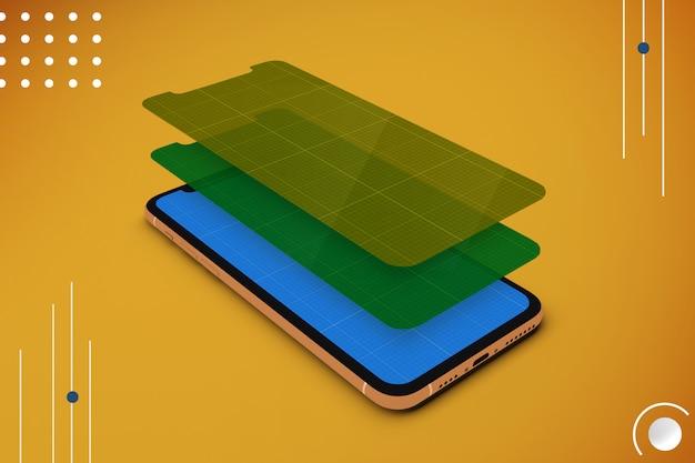 Smartphone mit mehrschichtigem bildschirmmodell