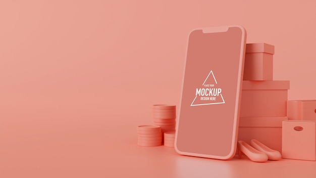 Smartphone mit mock-up-bildschirm, produkt, einkaufstüten und schachteln auf rosa hintergrund, 3d-rendering, 3d-darstellung