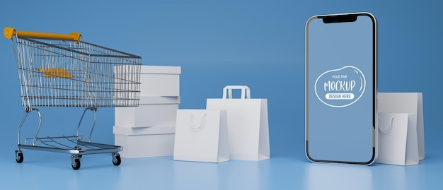 Smartphone mit mockup-bildschirm, der auf blauem hintergrund mit warenkorb und einkaufstüten komponiert