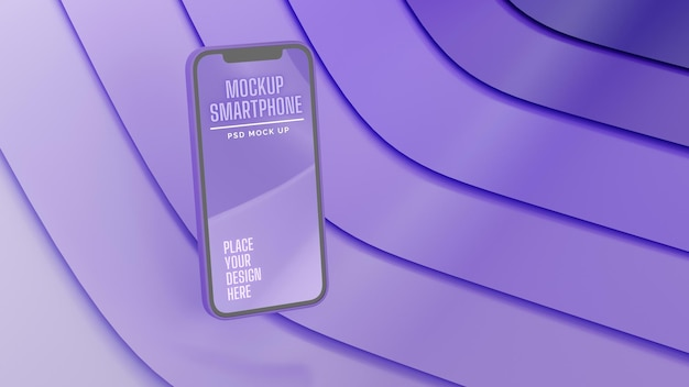 Smartphone mit mockup-bildschirm, der isoliert auf lila abstraktem hintergrund braten kann