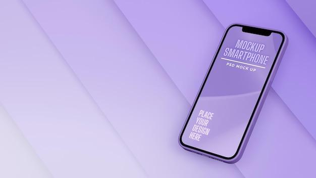 Smartphone mit mockup-bildschirm isoliert auf lila abstraktem hintergrund