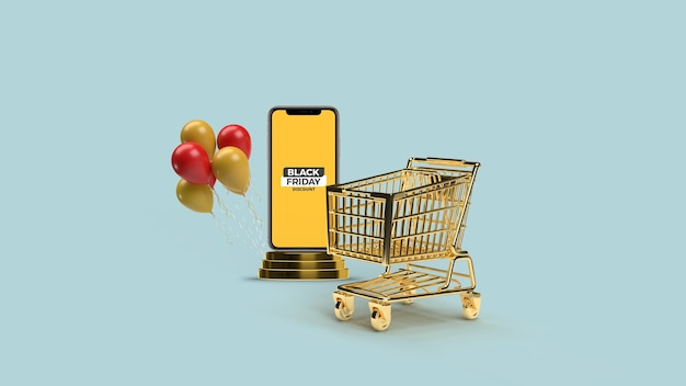 Smartphone mit podiummodell und 3d gerendertem goldenen wagen