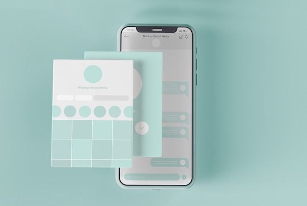 Smartphone mit social media screen mockup