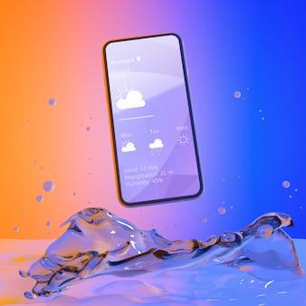 Smartphone mit wetter-app und buntem flüssigem hintergrund
