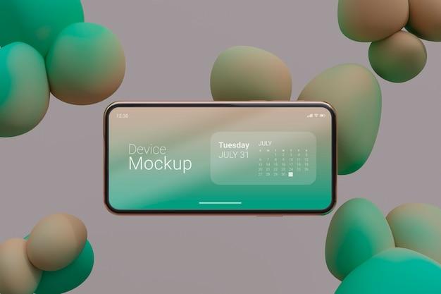 Smartphone-mock-up-komposition mit flüssigen dynamischen elementen