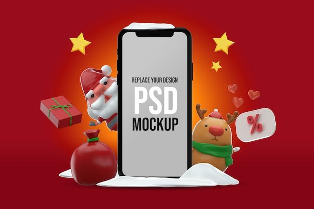 Smartphone mockup frohe weihnachten design 3d-rendering