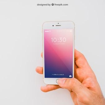 Smartphone mockup mit der hand