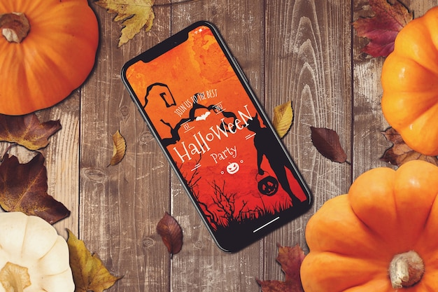 Smartphone-mockup mit halloween-design