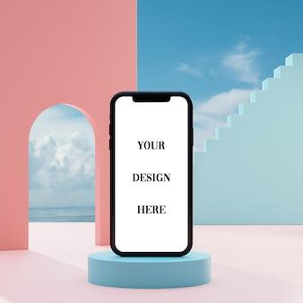 Smartphone-modell auf abstraktem hintergrund des himmelblauen ozeans