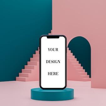 Smartphone-modell auf abstraktem hintergrund des podiums