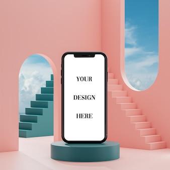 Smartphone-modell auf grünem podiumshimmelhintergrund