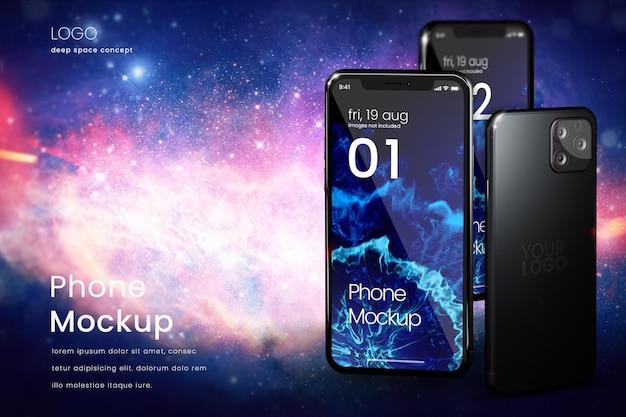 Smartphone-modell auf weltraumhintergrund