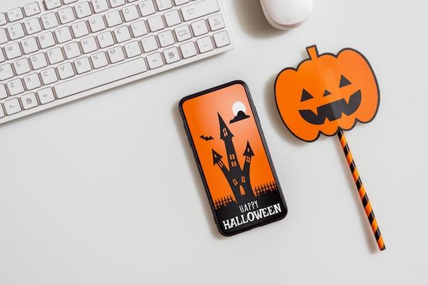 Smartphone-modell halloween-konzept
