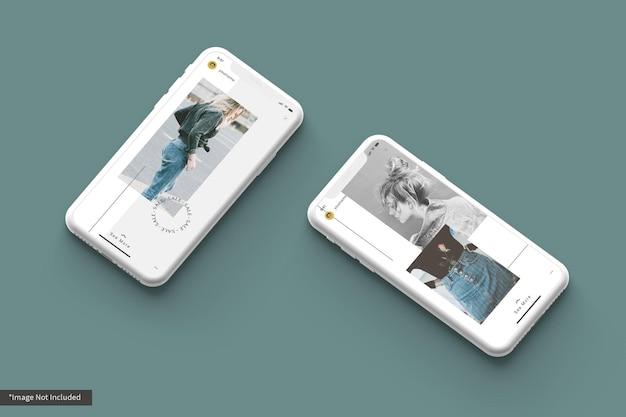 Smartphone-modell mit basis-instagram-geschichte