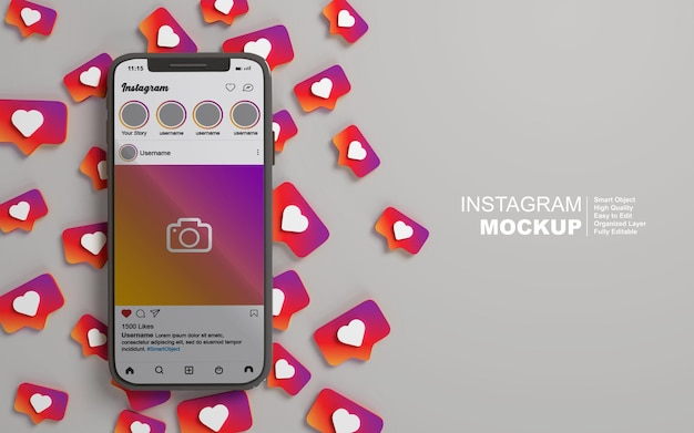 Smartphone-modell mit bearbeitbarem social-media-instagram-post 3d-rendering