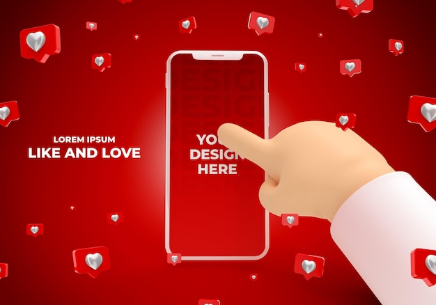 Smartphone-modell mit cartoon-hand mit instagram wie 3d-rendering