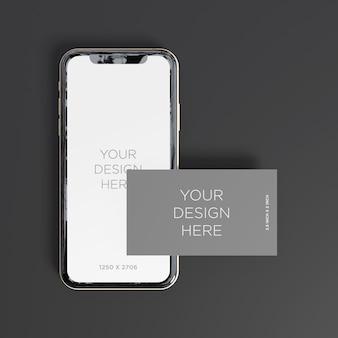 Smartphone-modell mit draufsicht der visitenkarte