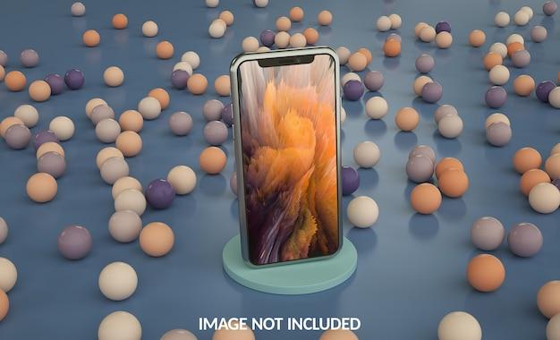 Smartphone-modell mit farbigen kugeln