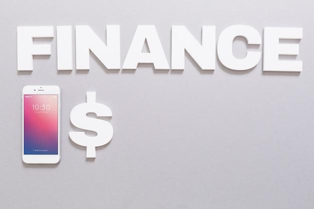 Smartphone-modell mit finanzkonzept