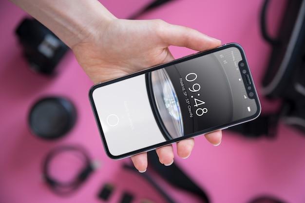 Smartphone-modell mit fotokonzept