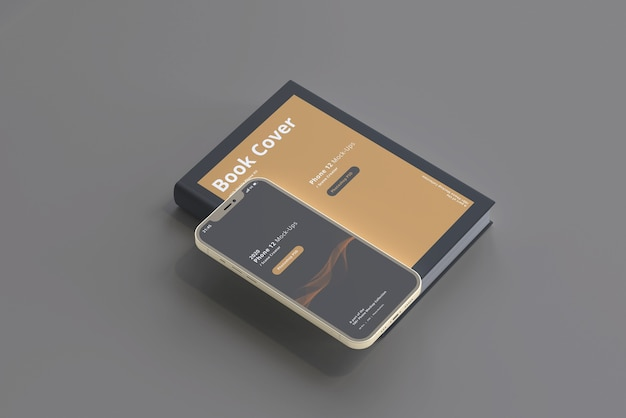 Smartphone-modell mit hardcover-buch