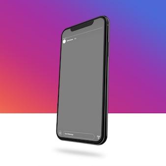 Smartphone-modell mit instagram-geschichte