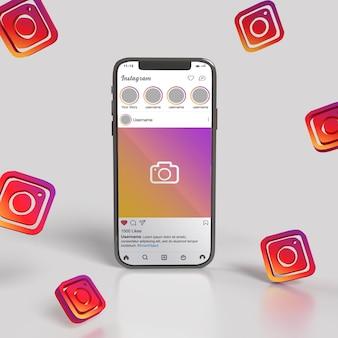 Smartphone-modell mit instagram-post