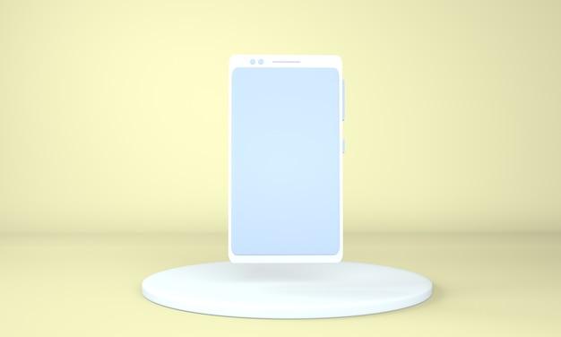 Smartphone-modell mit leerem bildschirm in 3d-rendering
