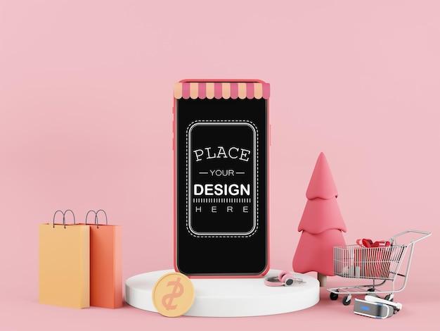 Smartphone-modell mit leerem bildschirm und einkaufskonzept