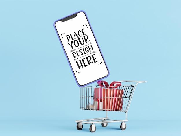 Smartphone-modell mit leerem bildschirm und einkaufswagen