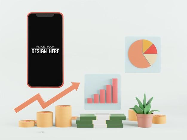 Smartphone-modell mit leerem bildschirm und geld und diagrammen
