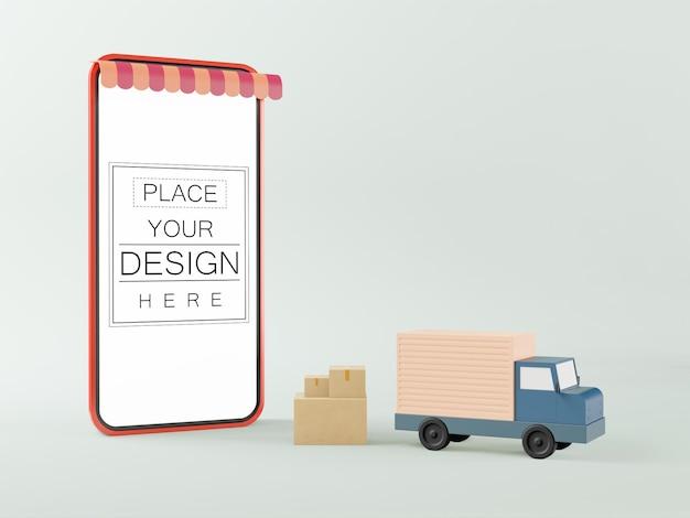 Smartphone-modell mit leerem bildschirm und lieferwagen