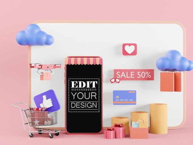 Smartphone-modell mit leerem bildschirm und online-einkaufskonzept