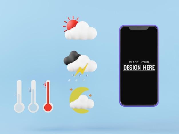 Smartphone-modell mit leerem bildschirm und wetterkonzept
