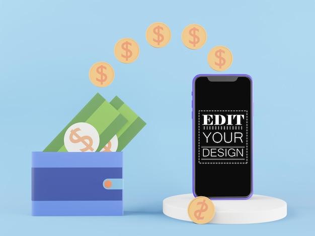 Smartphone-modell mit leerem bildschirm und zahlungskonzept