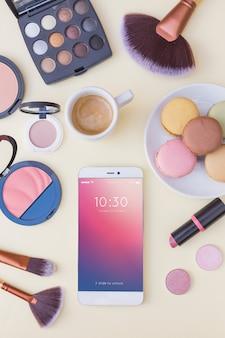 Smartphone-modell mit schönheitskonzept