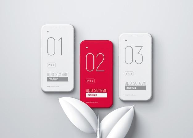 Smartphone-modell mit weißen blättern