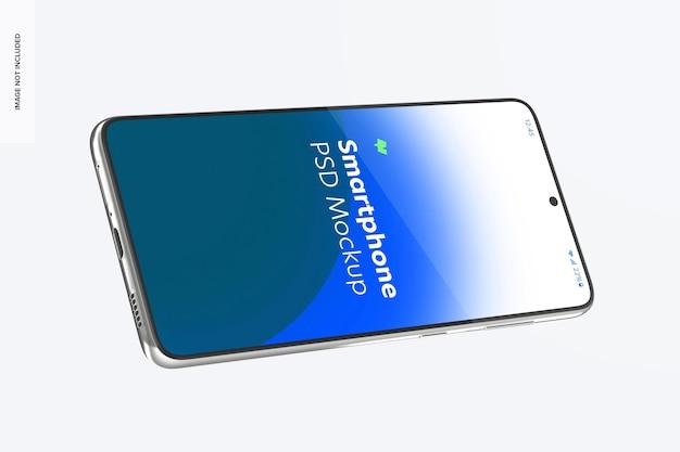 Smartphone-modell, schwebende landschaftsansicht