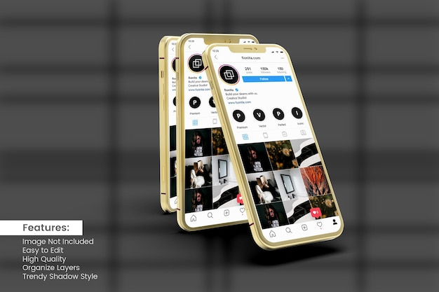 Smartphone-modell zum anzeigen von instagram-posts und story-vorlagen