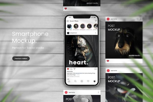 Smartphone-modell zum anzeigen von instagram-posts