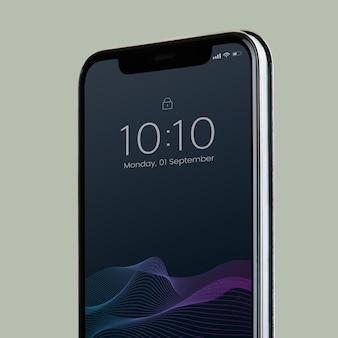 Smartphone-modelldesign mit schwarzem bildschirm