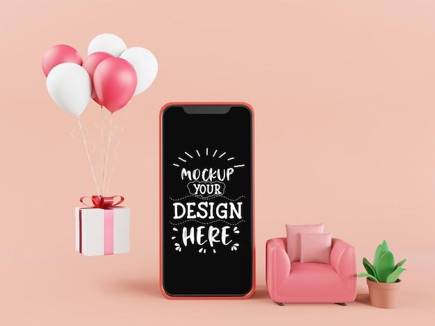 Smartphone-modelle mit leerem bildschirm und online-shopping