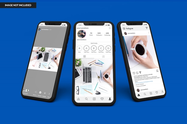 Smartphone-modelle zur anzeige der instagram-post-vorlage