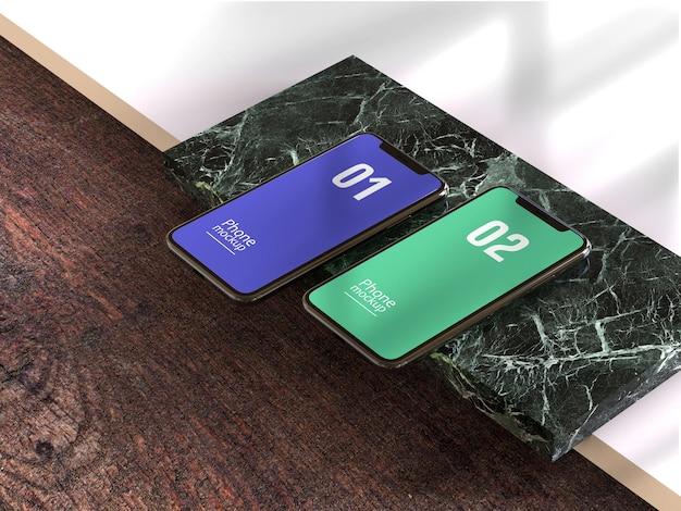 Smartphone- oder multimediagerät-mockup mit holzstruktur